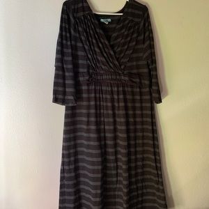 Old Navy Black & Grey Striped Maternity Dress